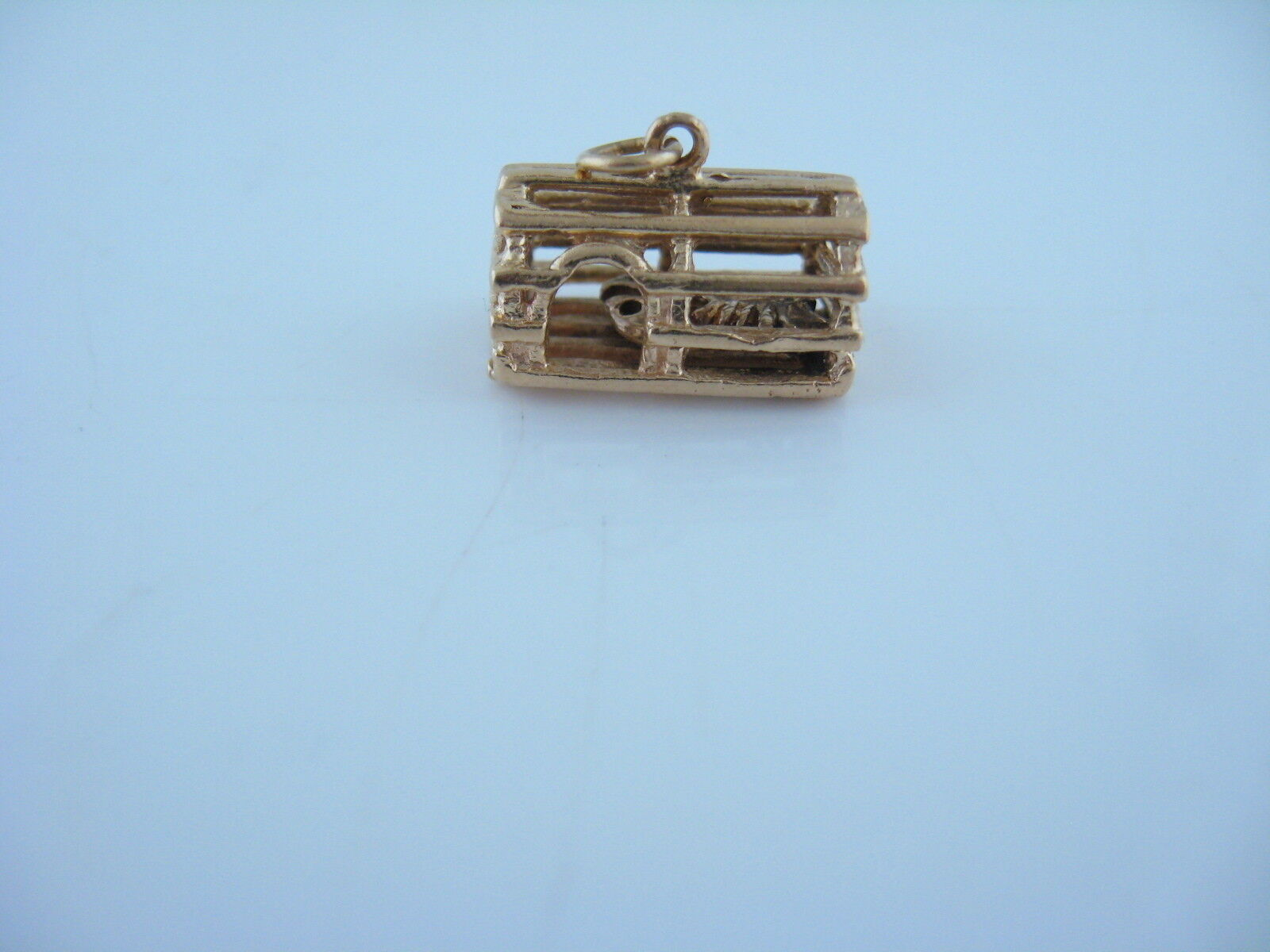 Vintage Lobster Cage With Loose Lobster Inside 14kt Yellow gold