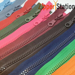 Chunky-Open-Ended-Zip-Plastic-Teeth-Choice-of-25-Colours-amp-11-Zipper-Lengths