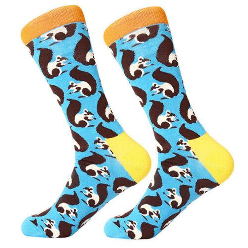 Mens Combed Cotton Socks Funny Cartoon Animal Novelty Dress Long Socks For Gifts