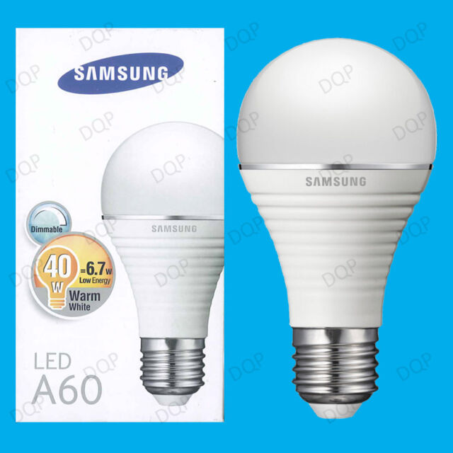 2x 6.7W Samsung GLS Dimmable Ultra Low Energy LED Light Bulbs, ES E27 Lamps