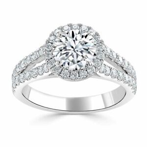 1.70 Ct Round Solitaire Moissanite Anniversary Ring 14K Solid White Gold Size 7