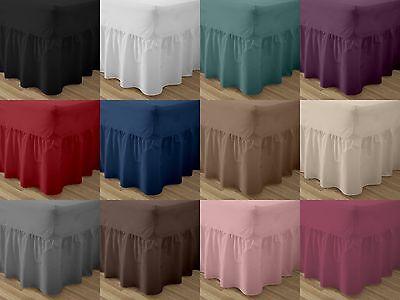 Romantico Plain Poli Cotone Montato Sheets A Balze Valance Foglio Singolo Doppio King Cuscino- Prestazioni Affidabili