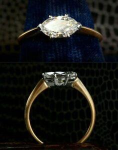 1-60ct-Marquise-Diamond-14K-Yellow-Gold-Fn-Vintage-Engagement-Wedding-Ring
