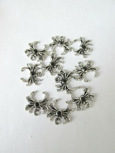 10pcs silver colour 19mm alloy spider charms with 5mm black rhinestone craft UK