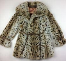 Vintage French Faux Fur Lynx Coat Medium Large Glamorous Hollywood Womens