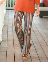 Womens Orvis Multi Stripe Cotton Pants Brown Blue Cotton Elastic Back Large Lg