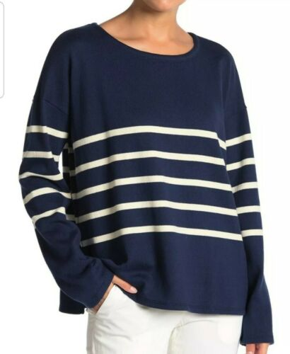 New XL Eileen Fisher Denim navy white stripe Top Striped Sweater  NWT $158