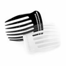 BlackDual White Floral Accents Moliabal Milano 3 Prong Hair Comb