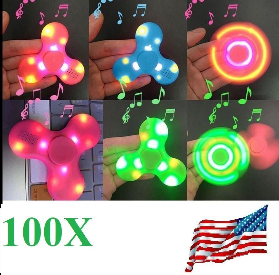 100x blåtooth Talman LED Fidget Spinner Hand Spinner Pair Phone spelas Musik