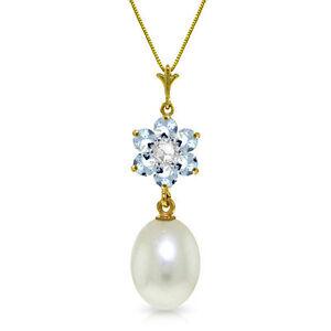 Genuine-Cultured-Pearl-amp-Aquamarine-Gems-Diamond-Pendant-Necklace-14K-Solid-Gold