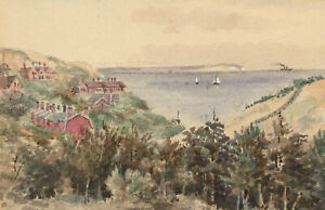 Charles-T-Miles-Double-Sided-Early-20th-Century-Watercolour-Coastal-View