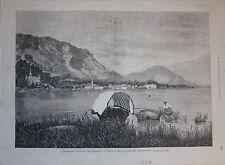 1879 VEDUTA DI BAVENO DALL'ISOLA SUPERIORE xilografia Illustrazione Italiana