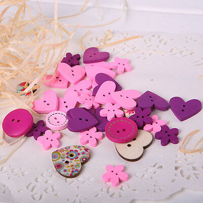 100pcs Round Love Heart Mixed Design 2 Holes Sewing Buttons DIY Scrapbooking NEW