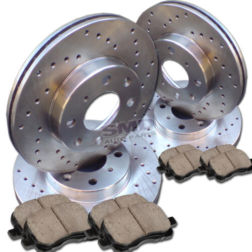 A0371 FIT 2000-2001 Ford Focus Non-SVT Cross Drilled Brake Rotors Ceramic Pads