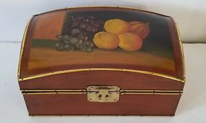 Vintage-Wooden-Box-Hand-Painted-Pruits-10-039-039-Long