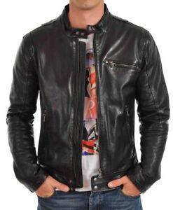 New-Soft-Lambskin-Motorcycle-biker-Genuine-Leather-Jacket-Cafe-Racer-Vest-927