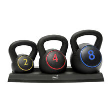 Neo 3PC Kettlebell Set Weights Sets Exercise Home Gym Rack Stand 2 4 8 KG