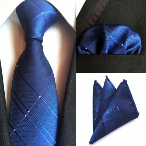 T124 NEW men silk ties /& handkerchief pocket square Tie set novelty blue stripes