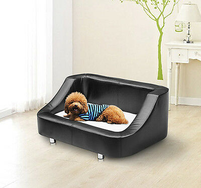 PawHut Pet Sofa Indoor Dog Cat Puppy Home PU Leather Mat Cushion Bed Couch Chair