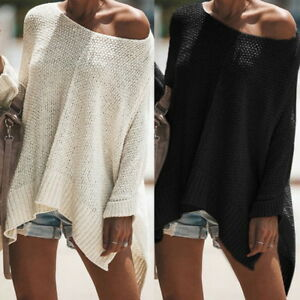 Womens-Long-Batwing-Sleeve-Knit-Sweater-Loose-Sweatshirt-Top-Blouse-Shirt-Dress