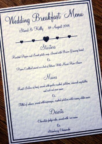 A4//A5//A6 Personalised Wedding Breakfast Menu inserts