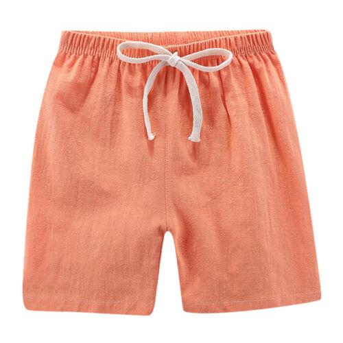 Summer Children Kids Boy Girl Linen Casual Shorts Elastic Waist Pants Clothes