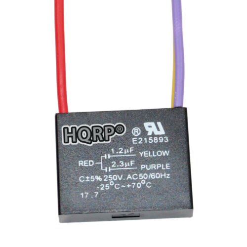 HQRP Ceiling Fan Motor Capacitor CBB61 1.2uf+2.3uf 3-Wire