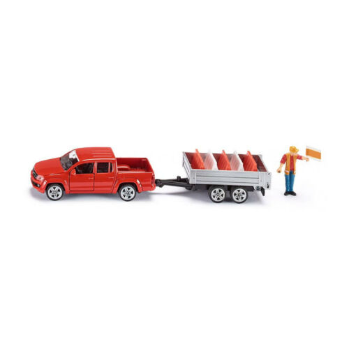 ° Siku 3543 VW Amarok Con Cassone Ribaltabile Rimorchio costruzione di strade rosso scala 1:55 NUOVO