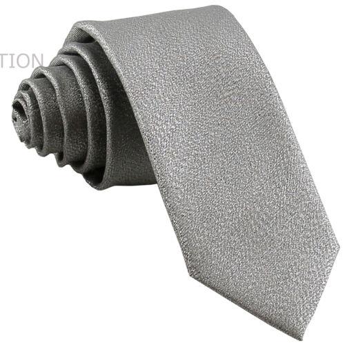 "New polyester striped men/'s 2.5/"" skinny neck tie necktie Glitter Silver wedding"