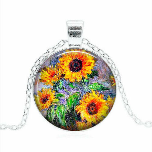 Monet Sunflowers Tibet silver Glass dome Necklace chain Pendant Wholesale