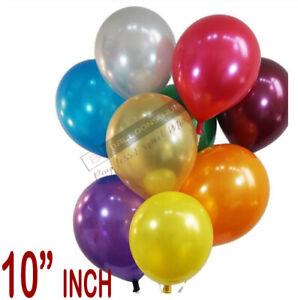 10-200-PK-10-pollici-Metallico-Palloncini-Colorati-Festa-Matrimonio-Compleanno-numerazione-di