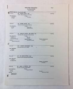 DAWSON'S CREEK set used shooting schedule ~ Season 5, Episode 8