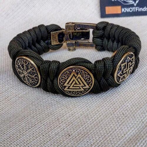 """/""""Horror shield/"""" /""""Valkyrie/"""" Paracord bracelet with  beads /""""Valknut/"""""""