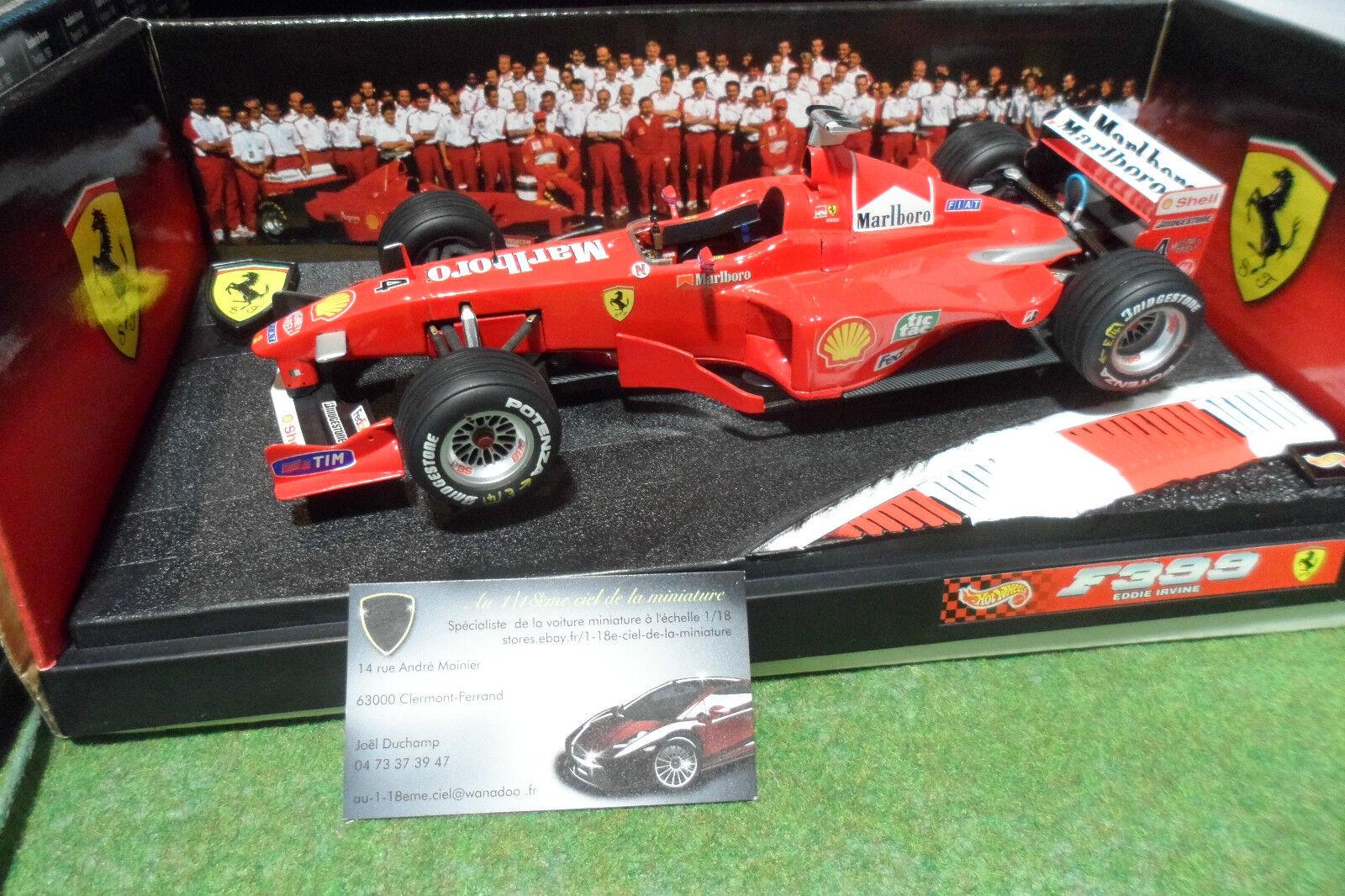 F1 FERRARI F399 1999 IRVINE   4 SPONSOR MARLBoro 1 18 HOT WHEELS 24629 formule 1