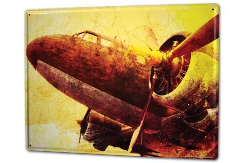 Tin Sign XXL Retro Propeller engine metal plate plaque