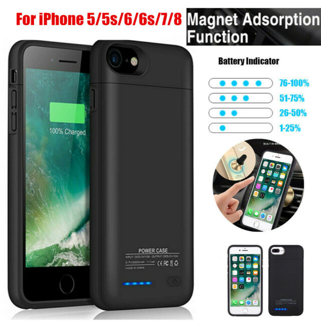 quality design d1fab 7ab07 3000mah iPhone 7 8 6 6S 5 5S Battery Charge Case External Power Bank Cover  Pack