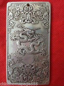 Old Chinese ru yi ji xiang tibet Silver Bullion thanka amulet 135g h1529