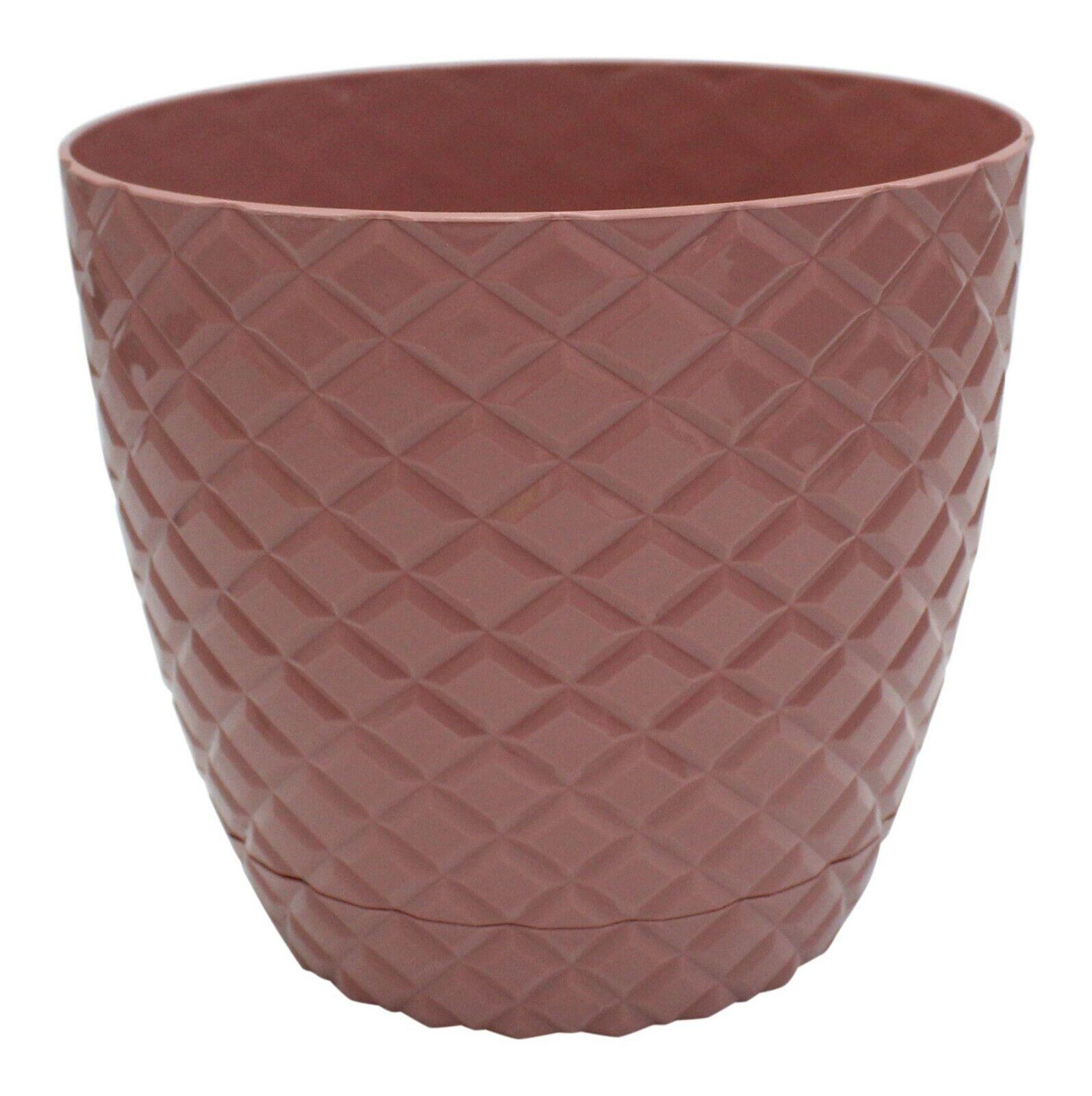 Pink Diamond Cut Modern Large Plant Pot Indoor / Outdoor 5.6 Litre Planter