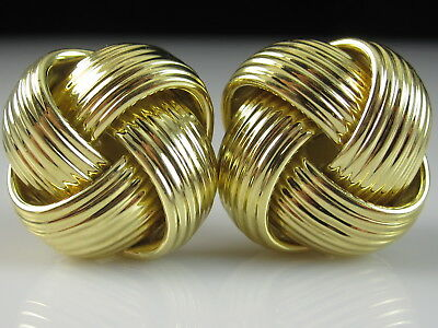 Roberto Coin Love Knot Earrings 18K 750 ITALY Yellow 13.87gr Omega Backs Woven