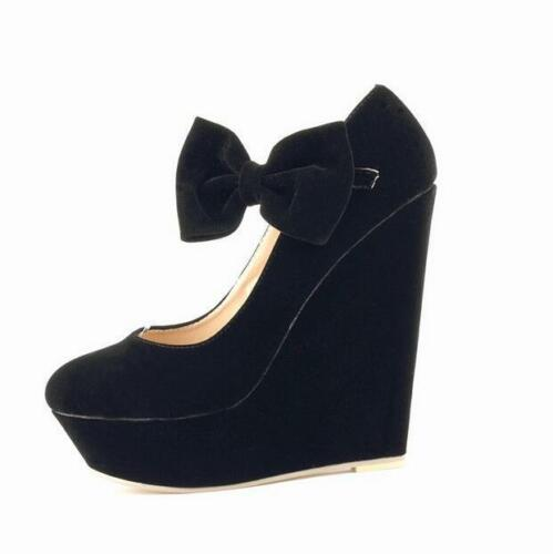 New Fashion Womens Wedge High Heels Platform Shoes Lolita Round Toe Bow Bowknot
