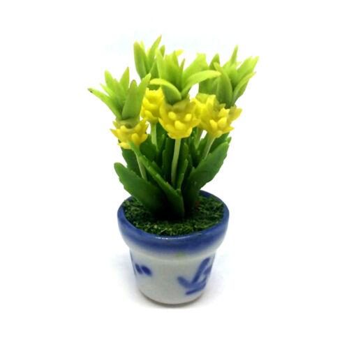 Yellow Bromeliad Clay Flower Ceramic Pot Dollhouse Miniature Tiny Handmade