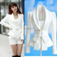 New Design Women Career OL White Slim Suit Coats Tops Long Sleeves Big Bowknot A