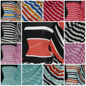 92030bd92a3 Image is loading Nautical-Sailor-Horizontal-Stripe-viscose-cotton-Jersey -Stretch-