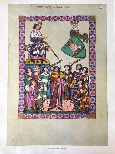 Motiv aus Codex Manesse Meister Heinrich Frauenlob 14. Jahrhundert