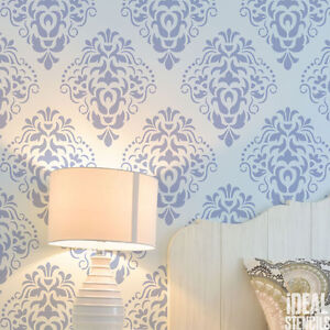 Image Is Loading Classic Damask Stencil Wall Painting Pattern Stencilling Home