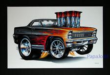 "Hot Rod Drag Racing Art Print Poster 1966 Chevrolet Nova 66 Chevy 11/"" by 17/"" Den"