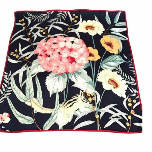 STUNNING Floral 100/% Real Silk Scarf Shawl Head Neck Women Square Scarves 90cm