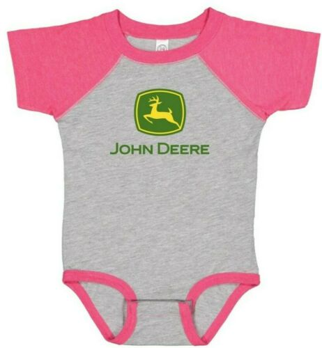 NEW Girls John Deere Pink and Gray Bodysuit Size 6 18 Months 12