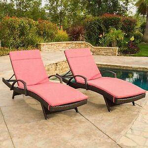 set of 2 outdoor wicker armed chaise lounge chair with red cushion ebay. Black Bedroom Furniture Sets. Home Design Ideas