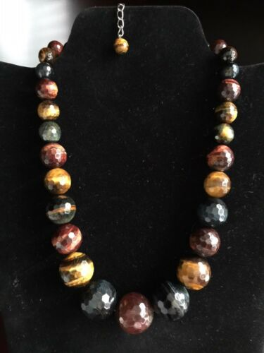 """Blue /& Brown Tiger/'s Eye Bead Silver Necklace 19/"""" Genuine Faceted Graduated Red"""